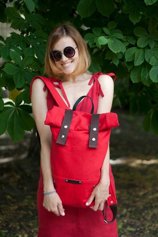 Рюкзак Roll Top Veggie (красный) Красный Хлопок. Escargo - фото 2