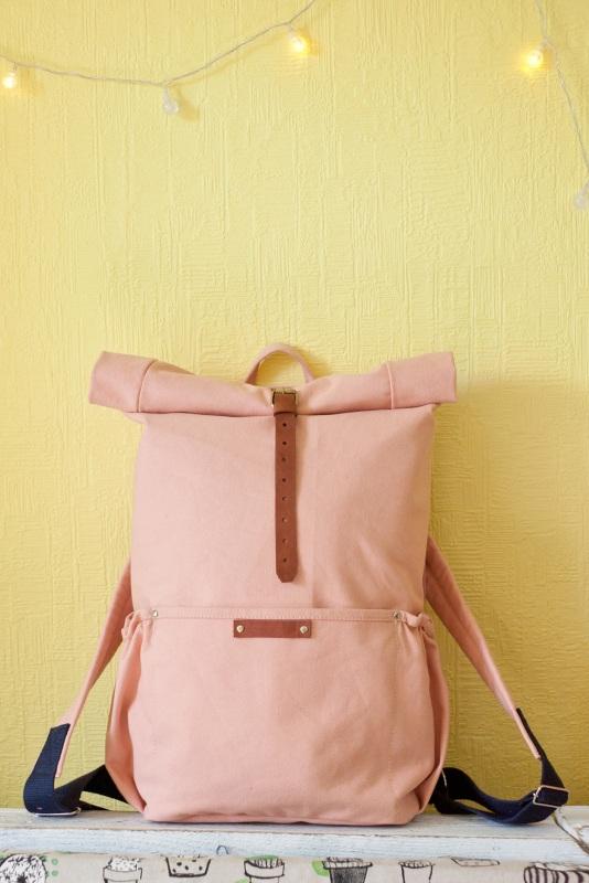 Рюкзак Roll Top Zipper (розовый) Розовый Хлопок Escargo - фото 6
