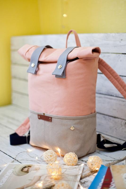 Рюкзак Veggie (серый/розовый) Розовый Хлопок Escargo - фото 1
