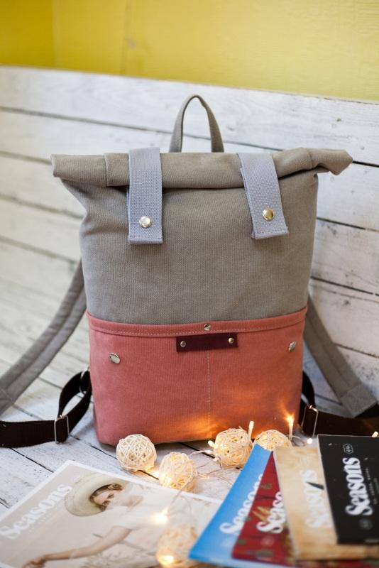 Рюкзак Veggie (серый/терракотовый) Серый Хлопок Escargo - фото 1