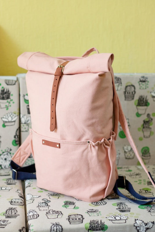 Рюкзак Roll Top Zipper (розовый) Розовый Хлопок Escargo - фото 3