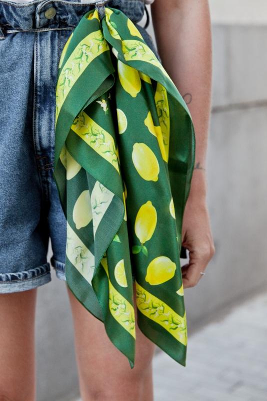 """Платок """"Лимонад в зеленом"""" Зеленый Шелк 100% Oliz - фото 1"""