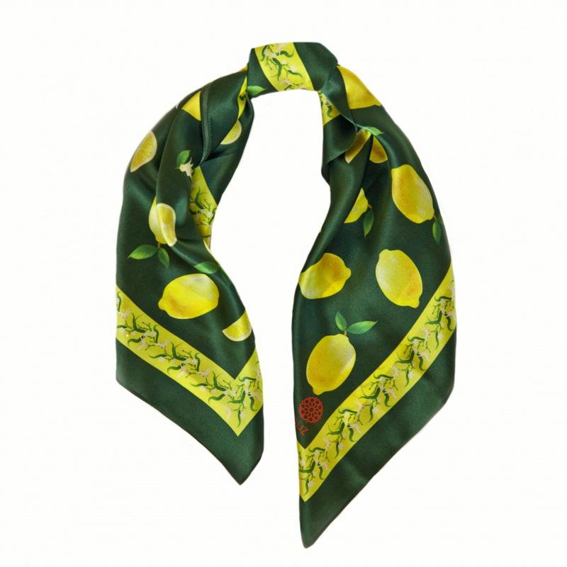 """Платок """"Лимонад в зеленом"""" 65*65 см Зеленый Шелк 100% Oliz - фото 1"""