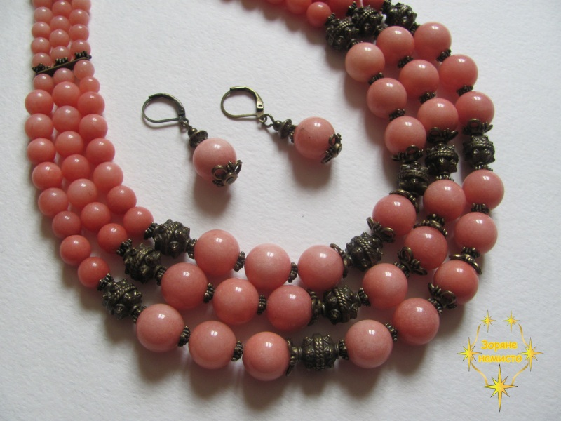 "Ожерелье ""Персиковое""  Родохрозит кораллово-розо Зоряне намисто - фото 1"