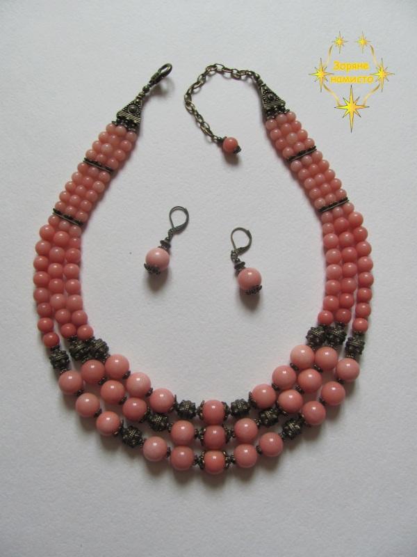 "Ожерелье ""Персиковое""  Родохрозит кораллово-розо Зоряне намисто - фото 4"