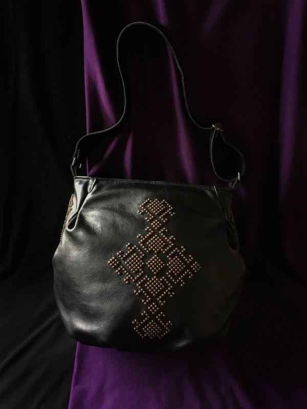 Женская кожаная сумка Черный Кожа, ткань. Афына Мирослава - фото 9