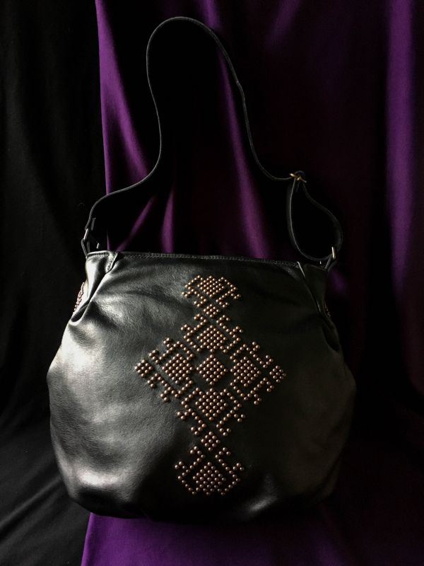 Женская кожаная сумка Черный Кожа, ткань. Афына Мирослава - фото 7