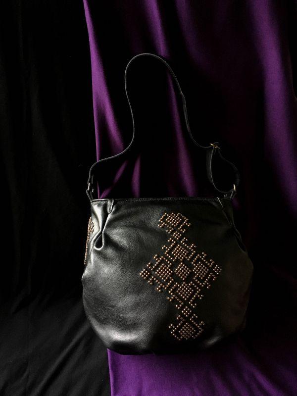 Женская кожаная сумка Черный Кожа, ткань. Афына Мирослава - фото 1
