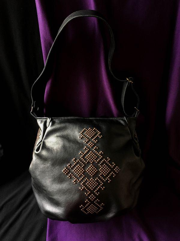 Женская кожаная сумка Черный Кожа, ткань. Афына Мирослава - фото 10