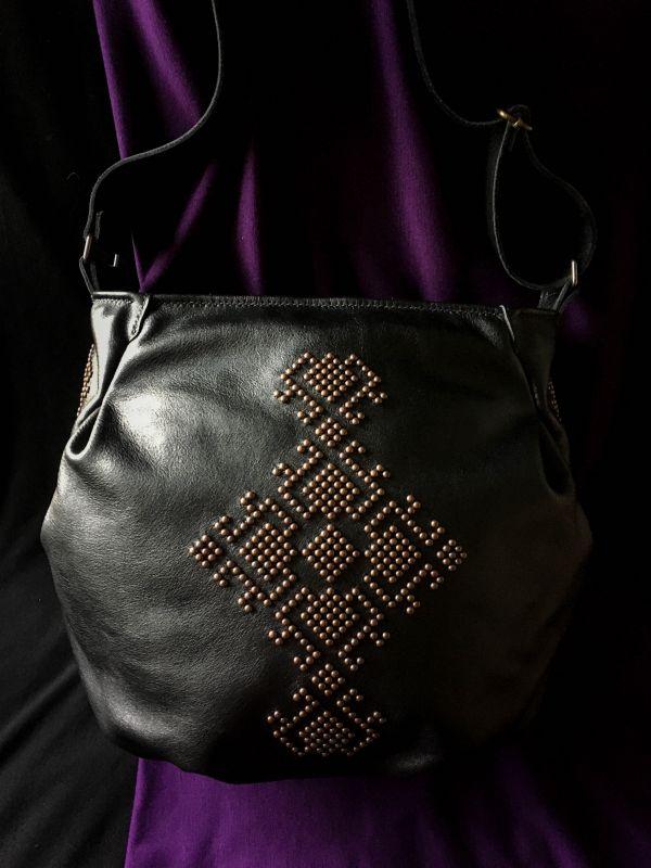 Женская кожаная сумка Черный Кожа, ткань. Афына Мирослава - фото 8