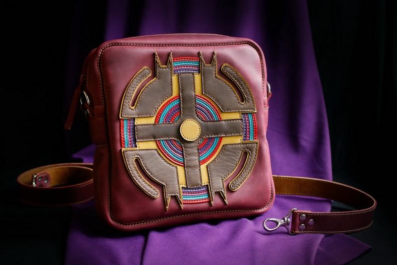 Женская кожаная сумка Бордовый кожа, ткань Афына Мирослава - фото 1