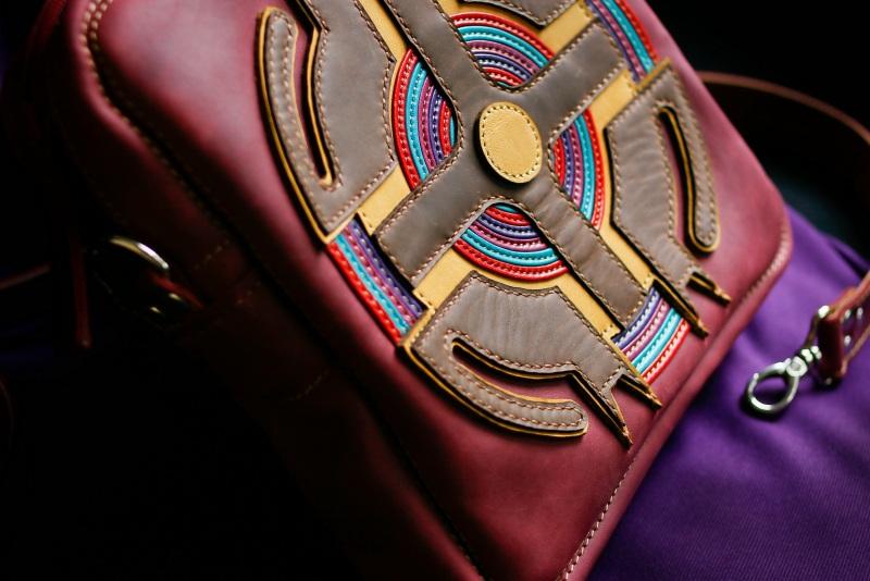 Женская кожаная сумка Бордовый кожа, ткань Афына Мирослава - фото 3