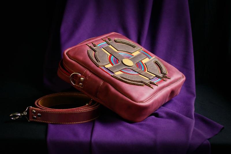 Женская кожаная сумка Бордовый кожа, ткань Афына Мирослава - фото 2