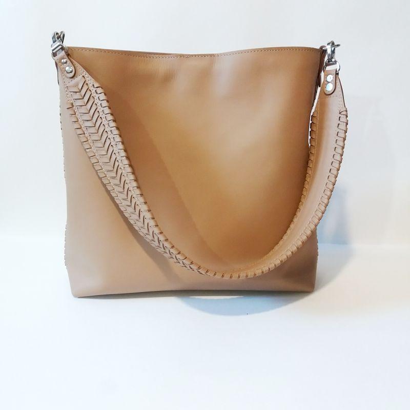 Женская сумка 02 Бежевый  натуральная кожа Гебель Светлана - фото 1
