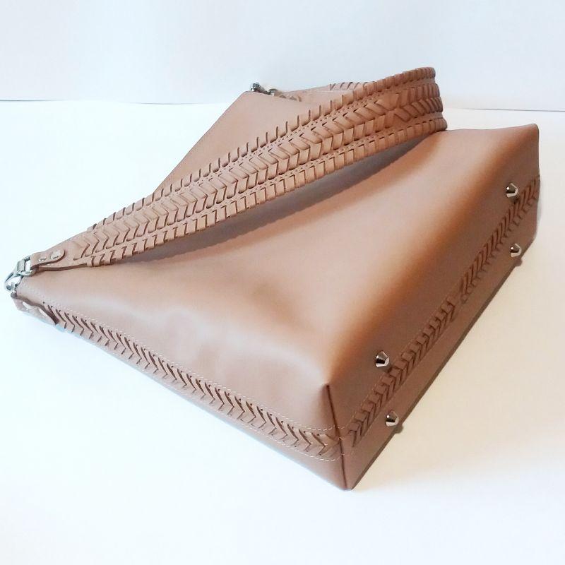 Женская сумка 02 Бежевый  натуральная кожа Гебель Светлана - фото 7