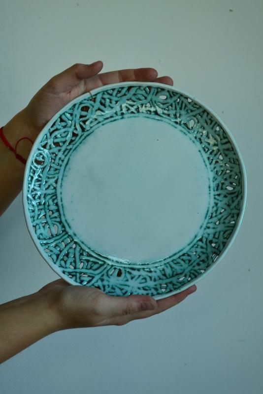 Тарілка з серії Мереживо Бірюзовий Кераміка,шамот.поливи Жолудь Аліна - фото 1