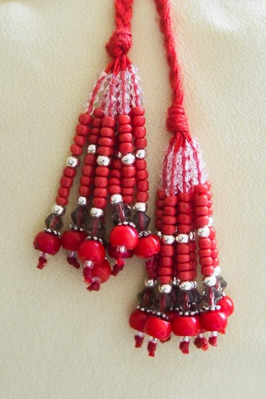 """Ожерелье из коралла с кистями Красный Современный коралл, бусин """"Пацьорки для панянок"""" - фото 2"""