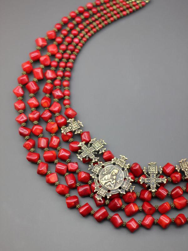 "Ожерелье ""Гроздь традиций""  Коралл, авторские згарды Борийчук Оксана - фото 4"