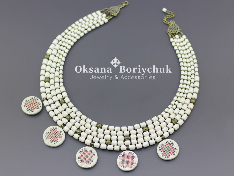 """Ожерелье """"Вышитая традиция""""  Бусины ручной работы из б Борийчук Оксана - фото 1"""