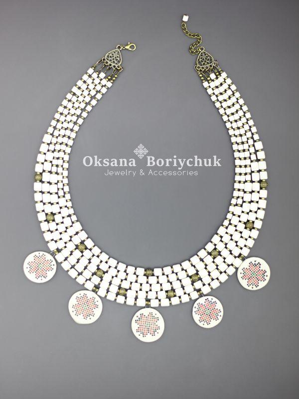 """Ожерелье """"Вышитая традиция""""  Бусины ручной работы из б Борийчук Оксана - фото 3"""