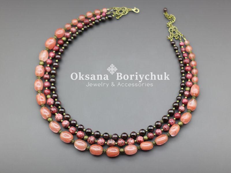 """Ожерелье """"Приближение весны""""  Гранат, тонированный квар Борийчук Оксана - фото 1"""