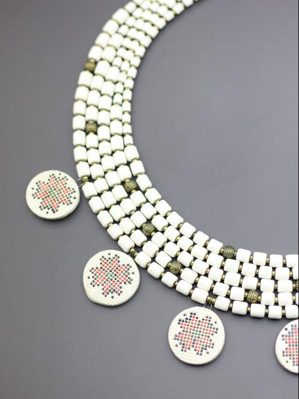 """Ожерелье """"Вышитая традиция""""  Бусины ручной работы из б Борийчук Оксана - фото 4"""
