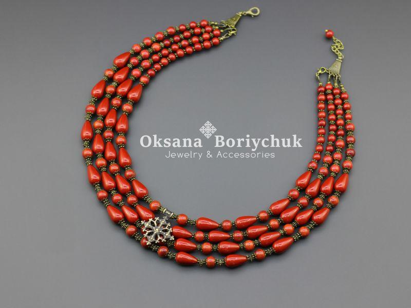 """Ожерелье """"Счастливая мечта"""" Красный Коралл, жемчуг Майорка, а Борийчук Оксана - фото 1"""