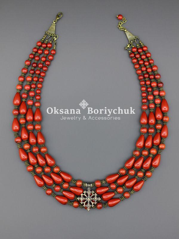 """Ожерелье """"Счастливая мечта"""" Красный Коралл, жемчуг Майорка, а Борийчук Оксана - фото 3"""