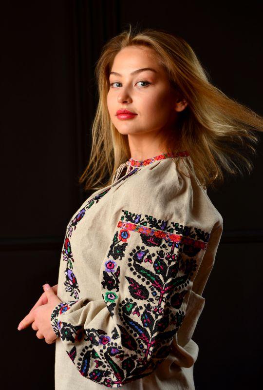 Борщевская женская вышиванка  Белый 100% лен Chichka - фото 3