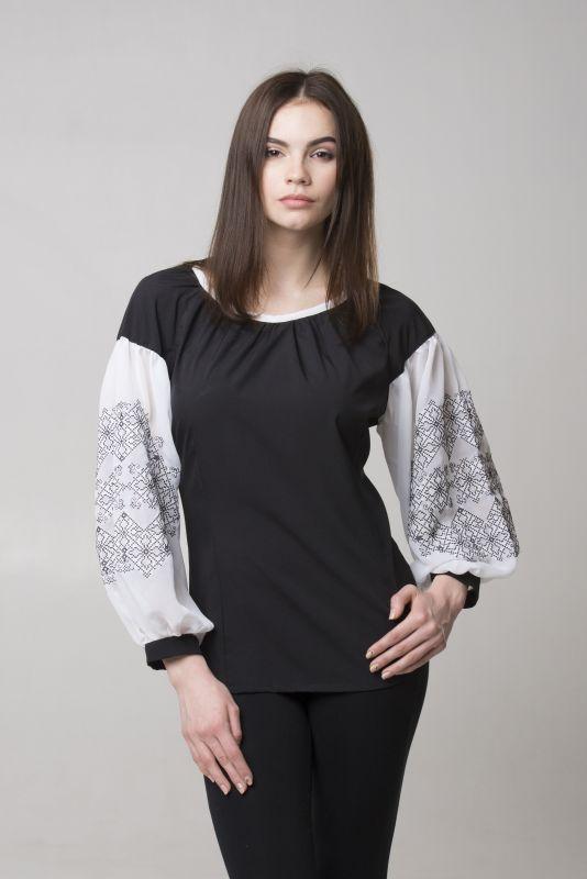 "Блуза из серии ""Black & White""  Черный Шифон-шелк Chichka - фото 3"