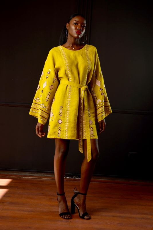 """Сукня """"Африка"""" Желтый 100% лен Chichka - фото 2"""