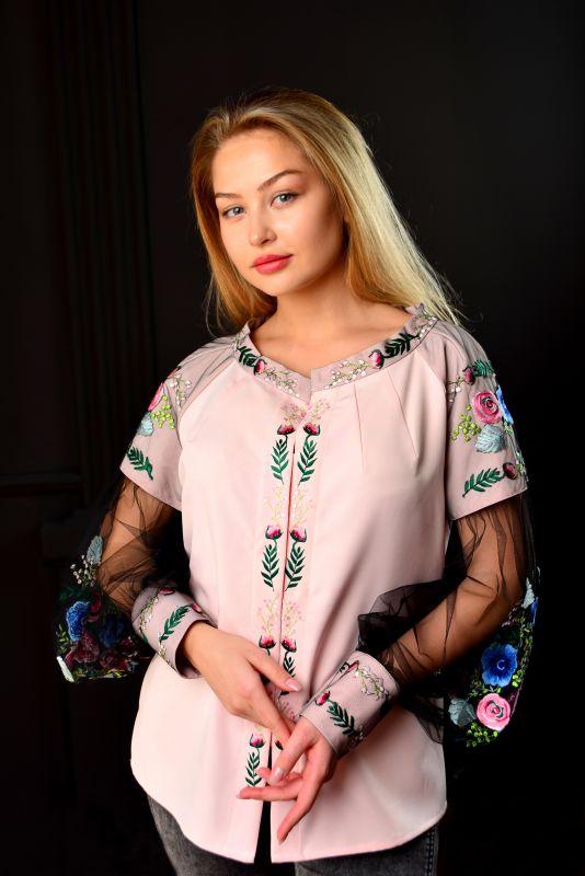 "Вышитая блуза ""Цветочный рай""  Розовый Хлопок + эластан + фатин Chichka - фото 1"