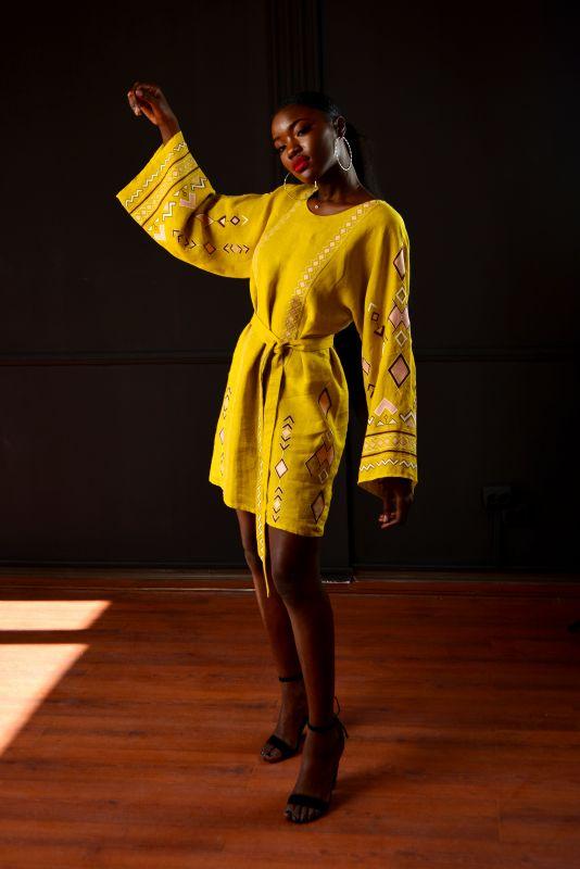 """Сукня """"Африка"""" Желтый 100% лен Chichka - фото 4"""