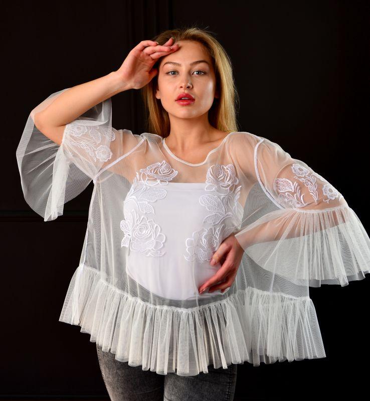 """Блуза """"Крылья"""" Белый фатин Chichka - фото 4"""