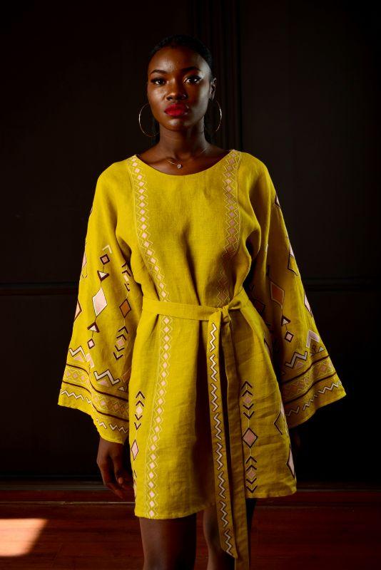 """Сукня """"Африка"""" Желтый 100% лен Chichka - фото 1"""