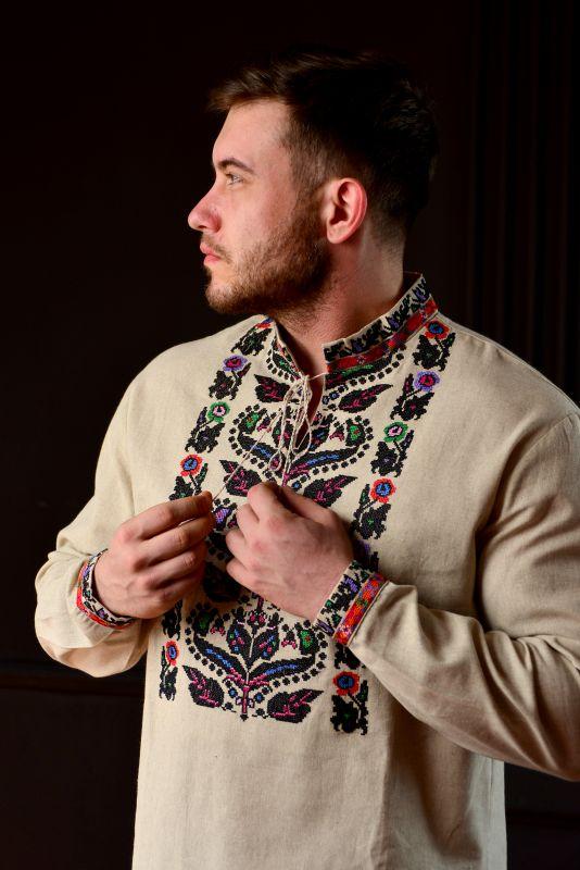 Мужская Борщевская вышиванка Белый 100% лен Chichka - фото 1