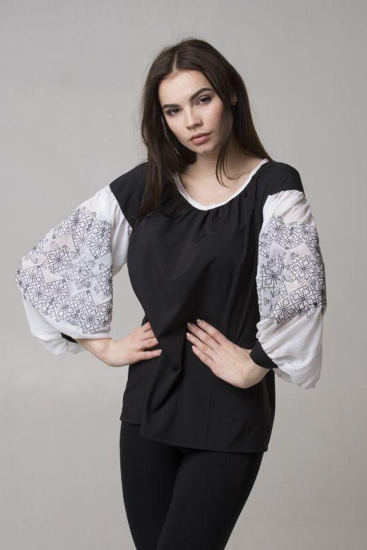"Блуза из серии ""Black & White""  Черный Шифон-шелк Chichka - фото 1"