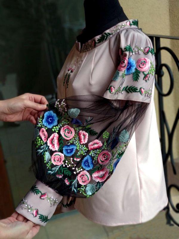 "Вышитая блуза ""Цветочный рай""  Розовый Хлопок + эластан + фатин Chichka - фото 2"