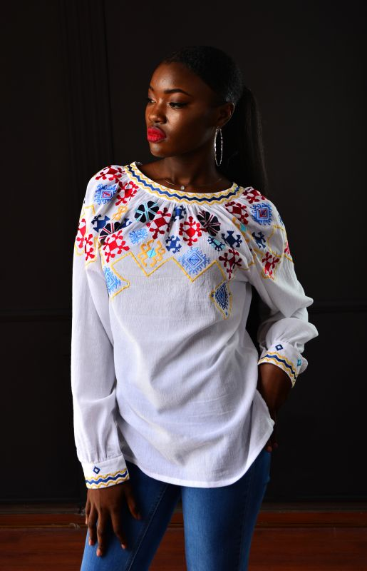 "Блуза ""Пиктография""  Белый 100% хлопок Chichka - фото 1"