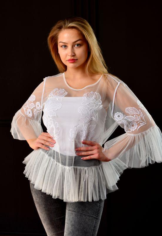 """Блуза """"Крылья"""" Белый фатин Chichka - фото 1"""