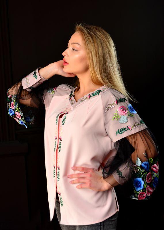 "Вышитая блуза ""Цветочный рай""  Розовый Хлопок + эластан + фатин Chichka - фото 5"