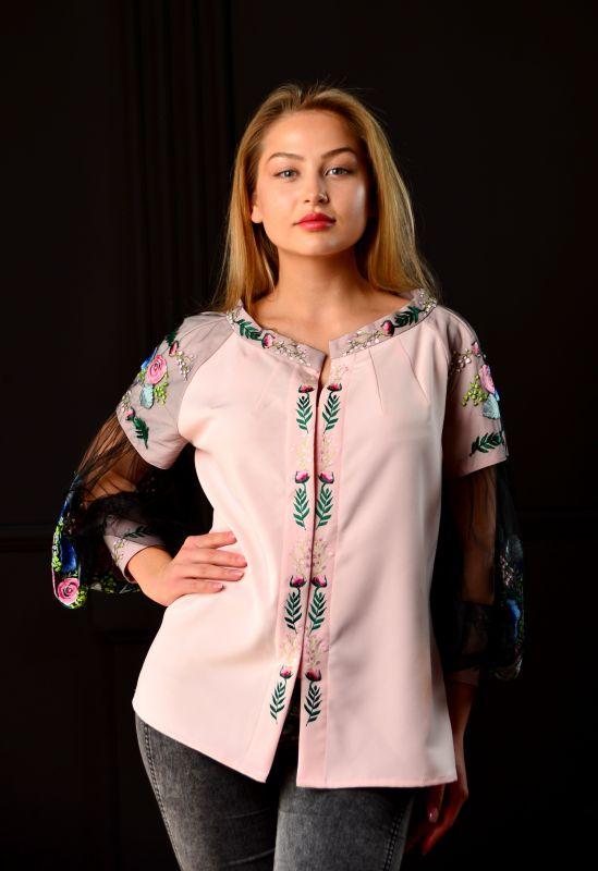 "Вышитая блуза ""Цветочный рай""  Розовый Хлопок + эластан + фатин Chichka - фото 4"