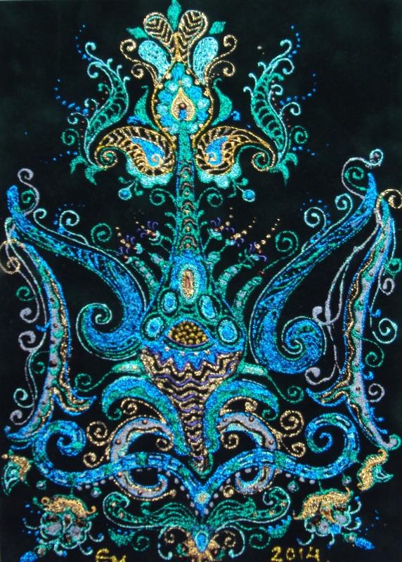 Цветок-трезубец  велюр (авторская техника) Проданчук Наталья - фото 1