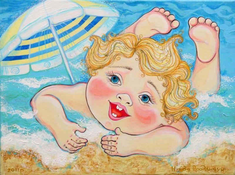 А я на море  акрил, холст Проданчук Наталья - фото 1