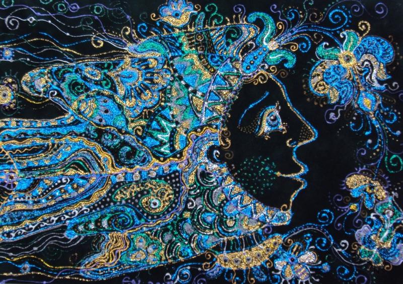 Рыбка-волшебница  велюр (авторская техника) Проданчук Наталья - фото 1