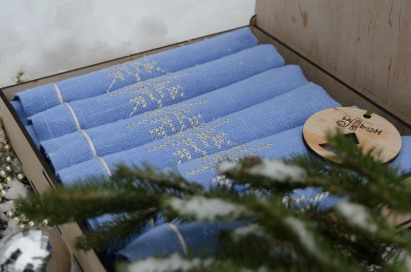 """Набор салфеток """"Новорічні""""  100% лен, люрекс, дерево БаЛьон - фото 2"""