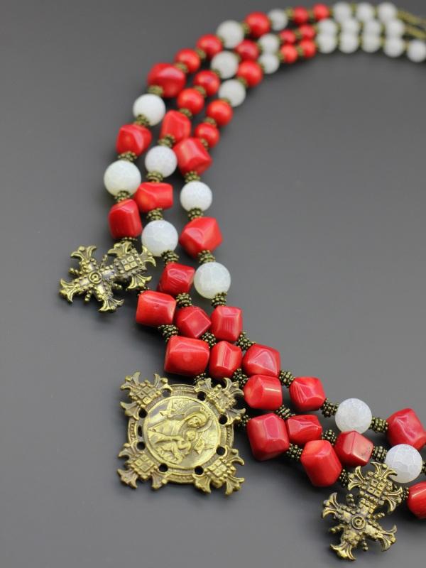 "Ожерелье ""Почтенная княжна"" Красный Коралл, морозный агат, то Борийчук Оксана - фото 2"