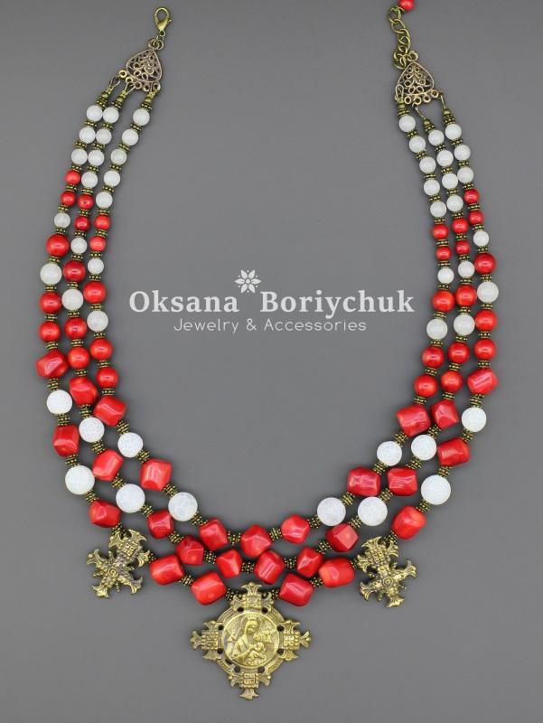"Ожерелье ""Почтенная княжна"" Красный Коралл, морозный агат, то Борийчук Оксана - фото 3"