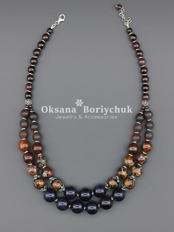 "Ожерелье ""Загадочная госпожа""  Гранат, авантюрин, яшма, Борийчук Оксана - фото 2"