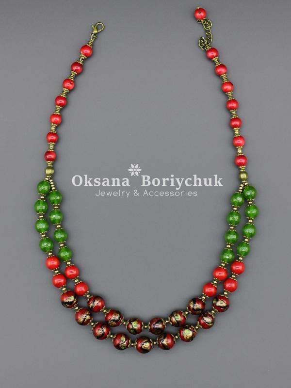 """Ожерелье """"Вышитая дубрава""""  Коралл, венецианское стек Борийчук Оксана - фото 2"""